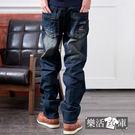 牛仔褲★幾何印花刷色伸縮中直筒牛仔褲● 樂活衣庫【7046】