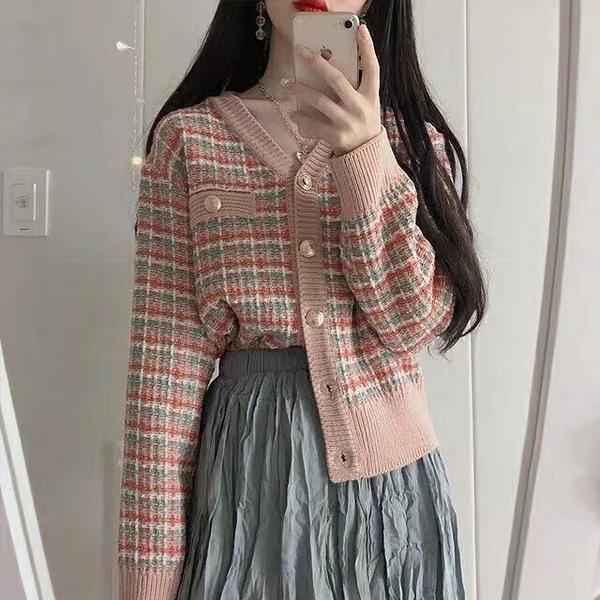 出清288 韓國小香風針織粗花短款氣質優雅單品針織外套