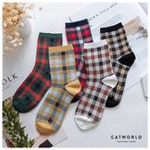Catworld 英倫風配色格紋棉質長襪【18900430】‧F