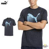 Puma navy 男 灰藍 短袖 運動上衣 短T 慢跑 休閒 健身 排汗 舒適 透氣 上衣 51734801