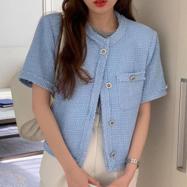 韓國CHIC夏季復古圓領毛邊設計別致單排扣寬松口袋粗花呢短外套女