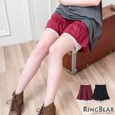 質感中大尺碼--高雅氣質鬆緊褲頭花苞下擺蕾絲百搭襯褲(黑.紅XL-4L)-R169眼圈熊中大尺碼