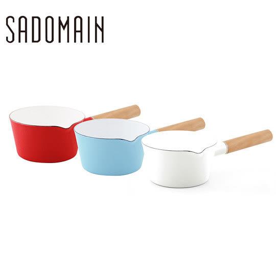 仙德曼SADOMAIN 琺瑯單柄牛奶鍋 15cm 1.1L(復古紅、水樣藍、象牙白)【SHOW BEST】牛奶鍋 鍋子免運
