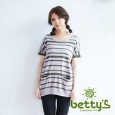 betty's貝蒂思 條紋雙口袋短袖針織衫(灰色)