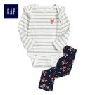 Gap女嬰兒 甜美風格荷葉邊飾睡衣套裝 497709-象牙白