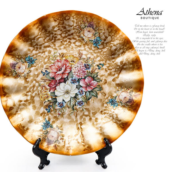 【雅典娜家飾】歐式結婚陶瓷圓盤-EI38