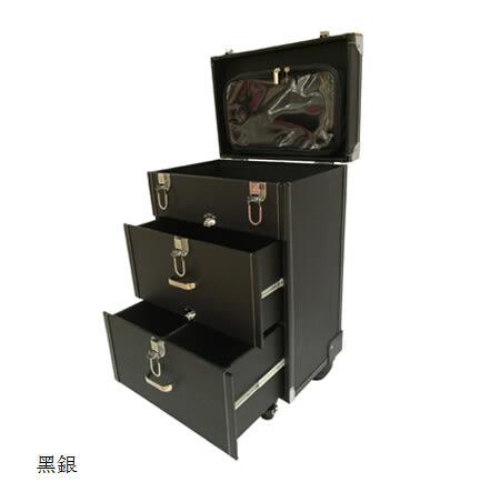 專業大號美甲箱拉杆化妝箱萬向輪多層半永久紋繡化妝箱跟妝工具箱  銀色包邊款