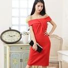 [6713-S] 性感露肩胸前層次線條小禮服洋裝~美之札