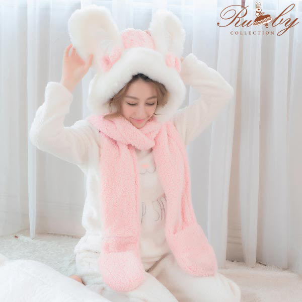 帽子 絨毛兔耳朵保暖帽子圍巾手套多功能一體三件組-Ruby s 露比午茶