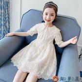 女童連身裙夏裝童裝蕾絲裙子夏季洋氣兒童公主裙【淘夢屋】