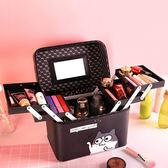旅行化妝包小號便攜簡約少女心可愛大容量多功能方手提收納盒品箱 【korea時尚記】
