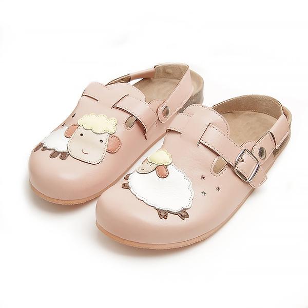 【Jingle】快樂小綿羊前包後空軟木休閒鞋(甜美粉大人款)