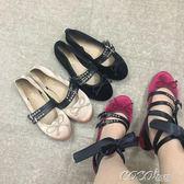 絨面單鞋 少女風女鞋復古芭蕾舞綁帶絲絨綢緞單鞋 coco衣巷