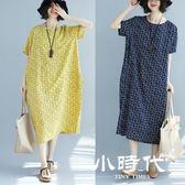 棉麻洋裝-大碼女裝夏裝遮肚子連身裙顯瘦棉麻長裙