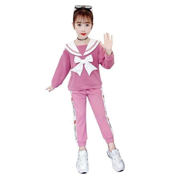 兒童套裝 女童加絨套裝秋裝2021新款洋氣網紅童裝小女孩秋冬兒童運動兩件套 歐歐