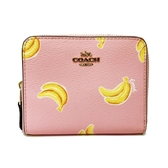 【COACH】香蕉印花ㄇ型拉鍊鈔票零錢袋短夾(香蕉粉)