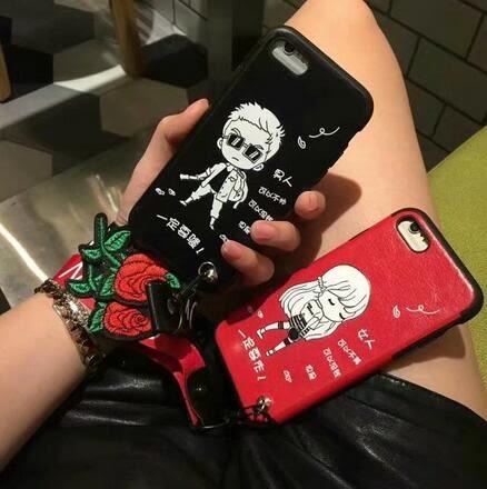 【SZ62】iPhone6手機殼iPhone7 plus全包潮牌男女玫瑰韓國帶手繩流蘇i6splus防摔套