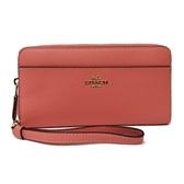 【COACH】手提式拉鍊零錢袋長夾手拿包(珊瑚粉橘)