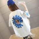 短t恤 #65/35拉架2021夏季新款韓版寬鬆大碼前後印花圓領短袖T恤女 17 育心館