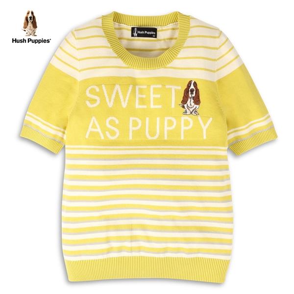 Hush Puppies 線衫 女裝撞色條紋字母緹花刺繡狗針織衫