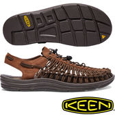KEEN 1017877 咖啡 Uneek Leather 男戶外編織皮革涼鞋 水陸兩用鞋/溯溪鞋