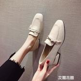 小皮鞋女英倫復古2019春季新款方頭樂福鞋粗跟中跟單鞋豆豆鞋『艾麗花園』