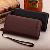 男士錢夾 長版皮夾商務大容量拉鍊手機包
