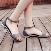 低跟涼鞋 韓版平底露趾涼鞋女夏新款水鑚復古羅馬鞋一字扣學生低跟女鞋 夢幻衣都