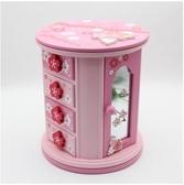 旋轉首飾盒木質公主歐式韓國簡約手飾盒【浪漫櫻花】