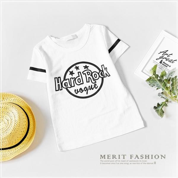 簡約英字母線條圓領短T 手繪 休閒 男童 棉質 春夏 短袖 上衣 T恤