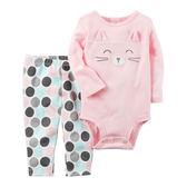 Carter's平行輸入童裝 女寶寶 長袖包屁衣&褲子 粉色貓咪【CA121H705】