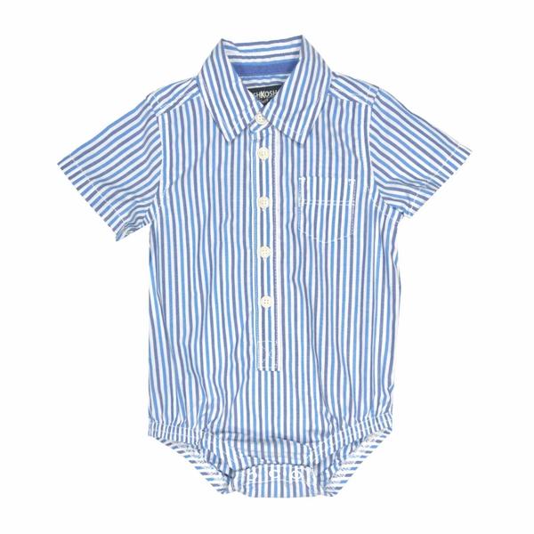 男寶寶短袖包屁衣 紳士西裝連身衣 藍直條 | Oshkosh童裝 (嬰幼兒/baby/新生兒)