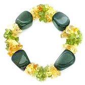 印度瑪瑙黃水晶橄欖石彈性手環