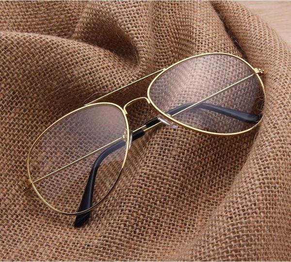 [24hr-現貨快出] 歐美 大框 潮流 平光鏡 復古 金屬眼鏡框 飛行員 蛤蟆鏡 百搭 眼鏡架