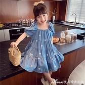 女童洋裝/連身裙夏裝2021新款女寶寶公主裙韓版洋氣泡泡袖夏季兒童裙子 快速出貨