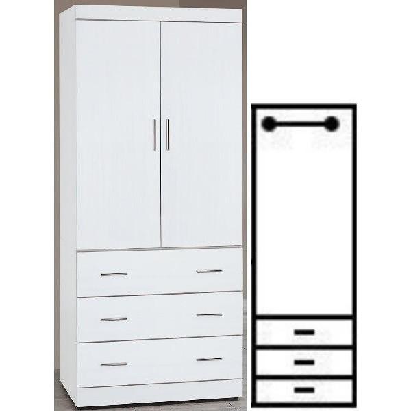 衣櫃 衣櫥 AT-645-2 純白耐磨3X7尺衣櫃【大眾家居舘】