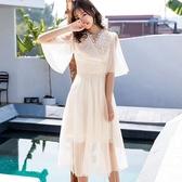 飄逸荷葉V領裙擺鏤空長洋裝/宴會服飾[98766-QF]小三衣藏