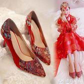 秋紅色新娘鞋秀禾鞋中式婚鞋高跟鞋繡花鞋大碼婚禮鞋尖頭紅鞋單鞋 青木鋪子