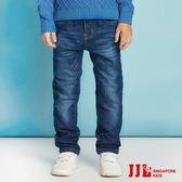 JJLKIDS 男童 俐落刷白保暖內刷毛牛仔褲(牛仔藍)