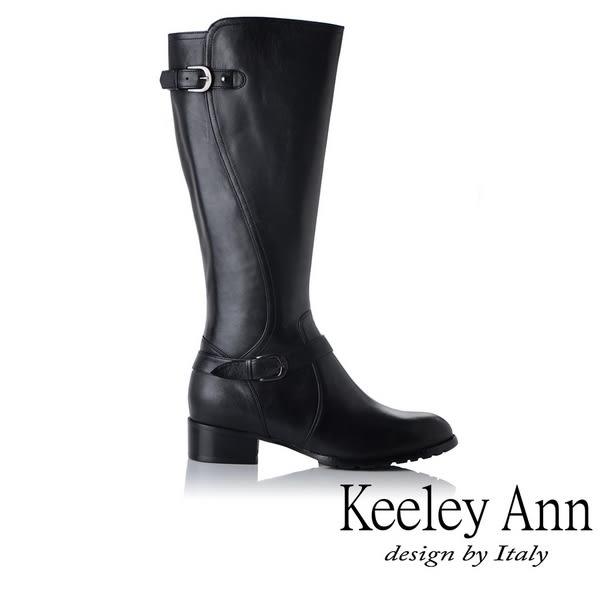 ★2018秋冬★Keeley Ann騎士風格~雙釦帶全真皮質感長靴(黑色)