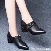 粗跟單鞋女中跟小皮鞋英倫風尖頭新款黑色5cm職業百搭氣質高跟鞋 印象家品