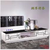 【水晶晶家具/傢俱首選】幾何200cm鋼琴烤漆白色二抽強化黑玻電視長櫃 JF8230-1