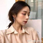 韓版仙美氣質愛心珍珠流蘇耳墜耳環女長款顯臉瘦鑲鑚耳釘耳夾  ◣怦然心動◥