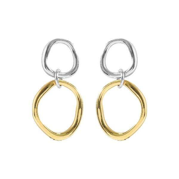 925純銀 金銀雙色不規則幾何圓形圓圈 垂墜耳環耳針 防抗過敏