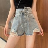 牛仔短褲夏季新款不規則高腰綁帶闊腿褲熱褲韓版chic風毛邊破洞短褲女可卡衣櫃