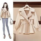 短款風衣女秋冬新款小個子燈籠袖裙擺收腰顯瘦韓版夾克外套潮
