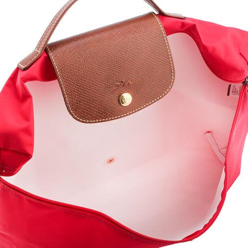LONGCHAMP經典尼龍摺疊方形手提包(絳紅色-含帕巾)480103-270
