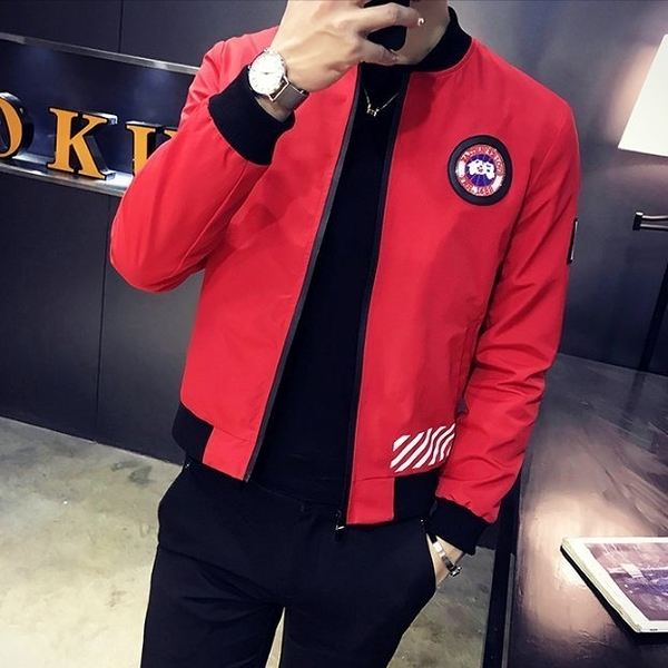 FINDSENSE Z1 韓國 時尚 潮 男 CANADA字母徽章 拉鏈小外套
