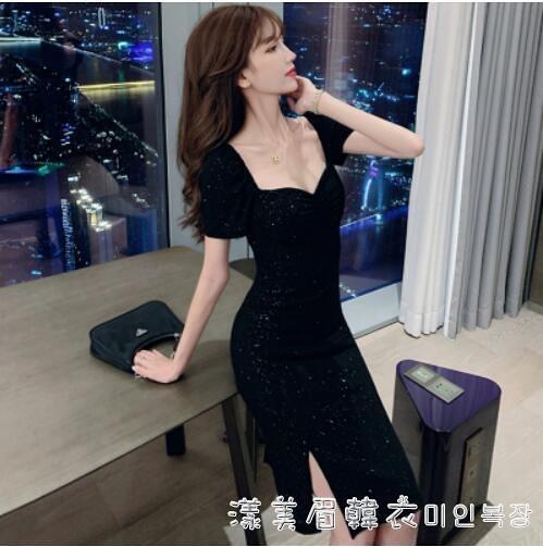 法式平時可穿禮服小個子復古方領修身顯瘦亮閃閃開叉性感洋裝夏 美眉新品