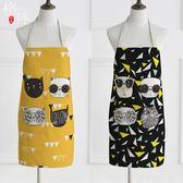 圍裙酷貓創意簡約情侶無袖女圍腰廚師罩衣